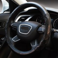 NewLove Universal Fits Most Car Styling Steering Wheel Non Slip Four Seasons Leather Embossed Car Steering Wheel Cover -- Awesome products selected by Anna Churchill