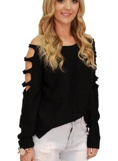 Just bought this top in Christiansburg,  lovin it , black open sleeve sweater #cutout #highlow