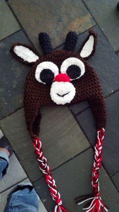 Rudolph crochet hat by jeniandchaz on Etsy