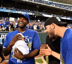 ALCS MVP Lorenzo Cain with his new baby.-- Still my favorite picture of the post season.