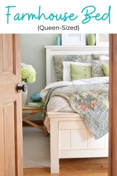This beautiful farmhouse bed can be made for just a fraction of the cost to buy - all from standard, off the shelf lumber! You won't need a pocket hole jig or any special tools to build. This bed has been built thousands of times and is a reader favorite. #anawhite #anawhiteplans #diy #diybed #diyfurniture #farmhouse #farmhousebed Simple Furniture, Diy Furniture Plans, Farmhouse Furniture, Woodworking Furniture, Woodworking Plans, Woodworking Projects, Woodworking Jointer, Homemade Furniture, Woodworking Magazine