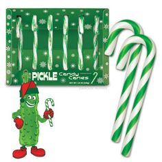 Pickle Candy Canes - $4.75 This site has lots of funny, cool, weird stuff.