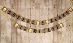 ***To ensure a timely processing time, please provide the date you need your order received by in the note to seller box at check-out.*** Perfect for any beer themed party! Cheers & Beers Banner is one strand and reads: [mug] CHEERS [mug] & [mug] BEERS [mug] Squares measure