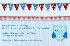 Print your own invitation. Baby Shower Invite - Owl Design