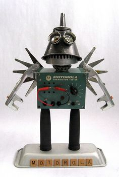 Motorola 447- Found Object Robot Assemblage Sculpture by Brian Marshall by adopt-a-bot, via Flickr