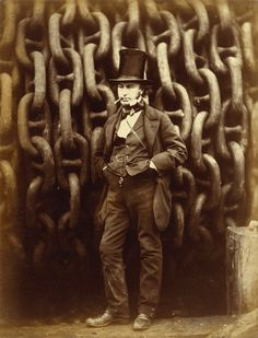 Isambard Kingdom Brunel Standing Before the Launching Chains of the Great Eastern – Robert Howlett – 1857.