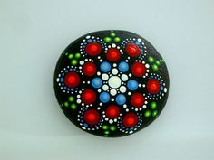 July Fourth-red white blue-mandala stones-painted rocks-patriotic star-ooak 3D dot art-summer finds-boho chic-summer gifts-4th of July bbq