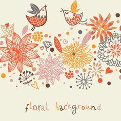 Fondo floral con pájaros