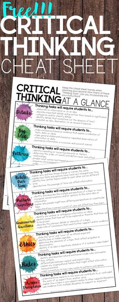 "Critical Thinking at a Glance ""cheat sheet"". ""Tips and a free ""cheat sheet"" for incorporating critical thinking in your instruction. Get students responding and thinking with depth and complexity. Instructional Strategies, Teaching Strategies, Teaching Tips, Teaching Reading, Teaching Rules, Instructional Technology, Teaching Art, Guided Reading, Higher Order Thinking"