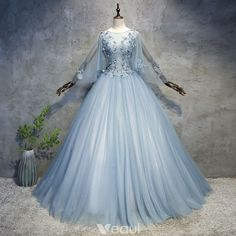 Chic / Beautiful Sky Blue Prom Dresses 2018 Ball Gown Appliques Pearl Scoop Neck Backless Long Sleeve Floor-Length / Long Formal Dresses #SkyBeutiful Aradel (Frost Burn)
