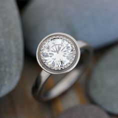 Moissanite and 14k Palladium White Gold Engagement Ring, Polished  Gold and MIlgrain Details on Etsy, $2,098.00