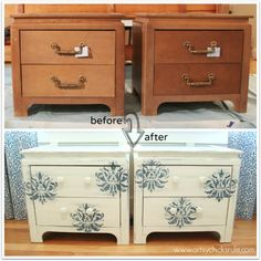 Aubusson Blue Stenciled Thrift Store Night Stand Makeover {Chalk Paint} - before and after - artsychicksrule.com #chalkpaint #aubussonblue #...