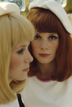 "Ms. Francoise Dorleac and her sister, Ms. Catherine Deneuve in a photograph taken during the shooting of the 1967 film ""The Young Girls of Rochefort""."