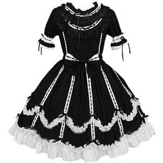 Partiss Women Cap Sleeves Classic Black Lolita Dress With Cross Straps ($55) ❤ liked on Polyvore featuring dresses, short cap sleeve dress, cross strap dress, cap sleeve cocktail dress and cap sleeve dress