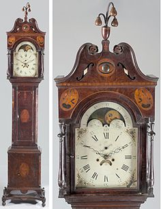 John Cole tall case clock Montgomery County, Virginia, circa Case made by Peter Rife and the works by David Whipple. Old Clocks, Antique Clocks, Or Antique, Vintage Clocks, Fine Furniture, Antique Furniture, John Cole, Tick Tock Clock, French Clock
