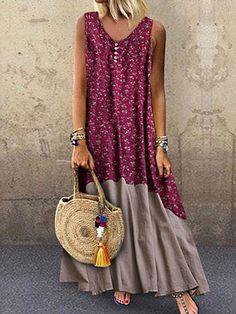 Plus Size Sexy Round-Neck Bohemian Sleeveless Print Dress – jullymart Vestidos Vintage, Robes Vintage, Vintage Dresses, Casual Dresses, Fashion Dresses, Summer Dresses, Trendy Dresses, Fashion Coat, Vacation Dresses