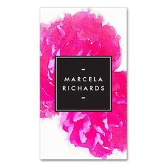 Elegant Watercolor Pink Peonies Business Card Template for makeup artists, beauty advisors, stylists, fashion bloggers, interior designers and more - ready to personalize with your info