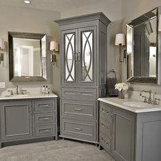 crown molding, panelized ends, inset doors with beaded face frames; gray paint; grey cabinetry; bathroom vanity