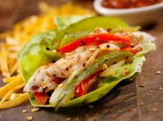 lettuce wrapped fajitas. I love the Avacado Cream that goes with. Sounds Yummy.