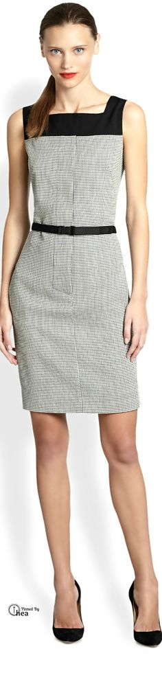 Akris Punto ● Check  Sheath Dress appropriate for work with a cardi/short cardi/blazer on top grey black