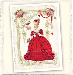 "Marie Antoinette Valentine 'une belle rose' -- Original artwork and design by Wendy Paula Patterson. ""This delightful folded greeting card was inspired by the beautiful tradition of Victorian Valentine's greetings"" from mulberrymuse"