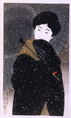 Ito Shinsui, Twelve Images of Modern Beauties: Snowy Night (Shin bijin…