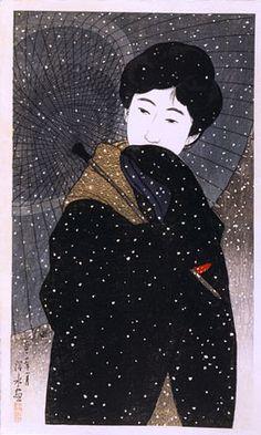 Ito Shinsui, Twelve Images of Modern Beauties: Snowy Night, woodblock, 1923