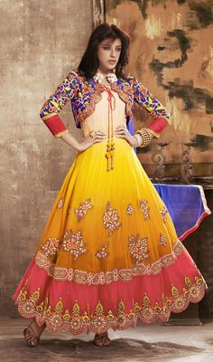 Heavy Embroidered Faux Georgette Anarkali Churidar Suit Flaunt your style with this heavy embroidered faux georgette Anarkali churidar suit. The wonderful attire creates a dramatic canvas with brilliant dangler, gold zardosi, jaal, lace, moti, patch, resham and stones work. #GeorgetteAnarkaliSuit #AnarkaliChuridarSuit