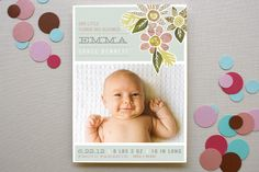 Heirloom Bloom Birth Announcements by Moglea at minted.com