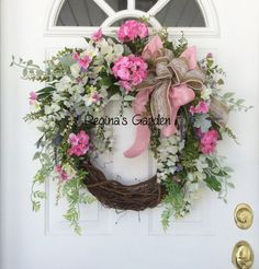 Spring Wreath-Spring Door Wreath-Easter Wreath-Wedding Wreath-Cottage Wreath-Romantic Wreath-Reginas Garden  This lovely cottage wreath has an abundance of beautiful, lush pink garden geraniums and wisteria...signs that warm weather is finally here. Sweet pink and white morning glories, French lavender and a sprinkling of meadow flowers give this wreath a light and airy feel. Wisteria vines and garden ferns join other foliages to create the perfect backdrop for this soft and romantic design…