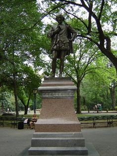 """One of William Shakespeare monuments located in Central Park NY. Made by John Quincy Adams Ward """"Central Park."""" Central Park Monuments - William Shakespeare : NYC Parks, The City Of New York . Poets Walk, English Poets, William Shakespeare, Central Park, Statue Of Liberty, New York City, Fountain, Garden Sculpture, New York"""