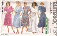 Butterick 3447 sewing pattern, Misses' pullover dress pattern, size 8 10 12, 80s eighties 1980s pattern, vintage pattern, retro pattern by Rethreading on Etsy