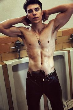 Canadian Actor Nolan Gerard Funk sexy shirtless picture in the bathroom