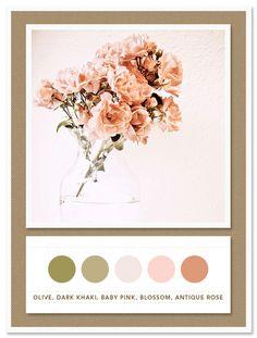 Color Card 031: Olive, Dark Khaki, Baby Pink, Blossom, Antique Rose