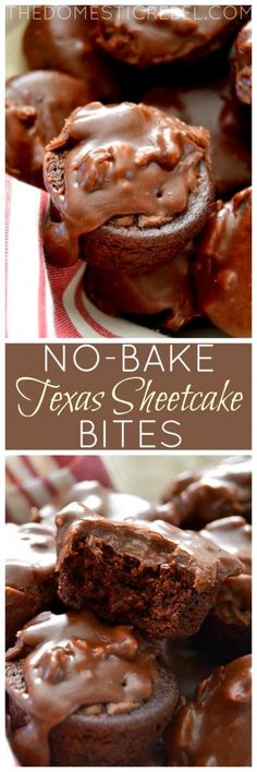 These No-Bake Texas Sheetcake Bites: perfect for when the chocolate craving strikes! Impossibly easy, totally foolproof and they taste super fudgy and amazing! (easy food recipes no bake) Mini Desserts, Chocolate Desserts, No Bake Desserts, Easy Desserts, Delicious Desserts, Dessert Recipes, Baking Desserts, Easy Sweets, Cake Baking