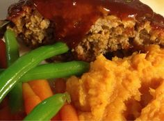 ... Sweet and Spicy Glazed Buttermilk Meatloaf and Mashed Sweet Potatoes