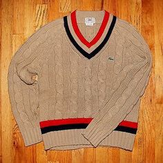 Vintage Men's Tan  Izod Lacoste V-neck Tennis Sweater Cable Knit Red Navy Trim M
