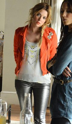 Hanna's red moto jacket with silver jeans and studded top on Pretty Little Liars.  Outfit details: http://m.wornontv.net/16279/