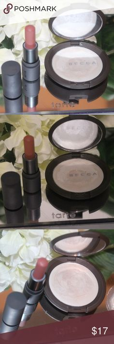 Becca poured creme highlighter + lippie Small bundle of high-end makeup Ft. Bite beauty and Becca. Bite multipurpose lippie has never been used, open for photography purposes only. Poured creme highlight was swatched but not used. From a clean and smoke free environment. I'd like to remind everyone that you can always bundle to save on shipping. Discounted shipping is also available, please let me know in the comments below if you would be interested. Thank you for checking out my closet…