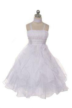 White Crystal Pleated Extravagent Multi-layered Petal Flower Girls Dress CB-0321-WH on www.GirlsDressLine.Com