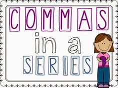 Great little pack for teaching commas in a series.