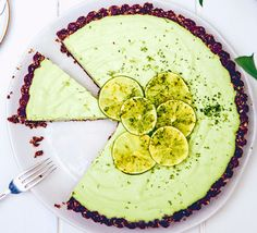 Key lime pie: This creamy, dairy-free dessert is naturally sweetened and uses entirely raw ingredients, with a date, walnut and coconut crust and a creamy avocado and cashew nut filling