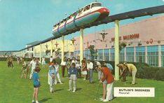 The monorail at Butlins Skegness operated from 1965 to 2002 and was the first commercial monorail system in the UK. It ran for nearly a mile in a large loop and was a much loved feature of the old camp. Holiday Day, Holiday Photos, British Holidays, Butlins, Seaside Holidays, British Seaside, Human Nature, Camps, Vintage Postcards