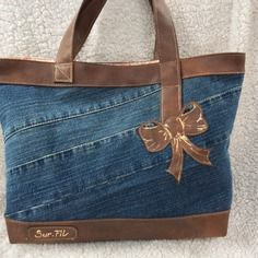 "Sac "" charme "" en jean et simili                                                                                                                                                                                 More"
