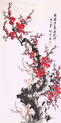 Chinese Plum Blossom x x Painting. Buy it online from InkDance Chinese Painting Gallery, based in China, and save Japanese Artwork, Japanese Painting, Flor Oriental Tattoo, Chinese Flowers, Chinese Painting Flowers, Chinese Drawings, Japon Illustration, Botanical Illustration, Art Asiatique