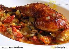 Kuřecí stehna na pikantní zelenině recept - TopRecepty.cz Clean Recipes, Chicken Wings, Food And Drink, Treats, Foodies, Life, Gastronomia, Straws, Meat