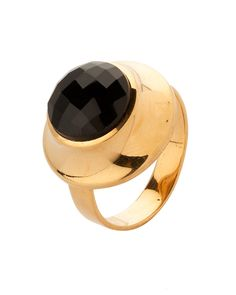 Gold Plated Ring With Glossy Black Semi-Precious Stone