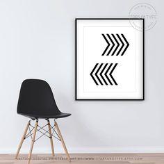 Chevron Art, Printable Wall Art, Black Chevron Pattern, Modern Minimalist Scandinavian Style, Monochrome Arrows Decor, Digital Poster Print by StarsAndType on Etsy