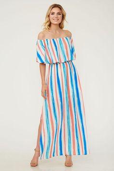 b3ec1b8890510 Caribbean Striped Off The Shoulder Maxi Dress