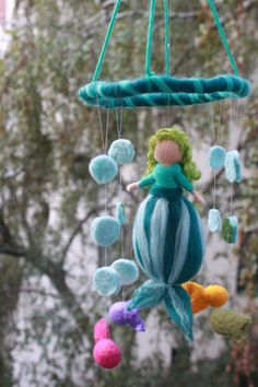 """Kinderzimmerdekoration - Mobile """" Kleine Nixe"""" - ein Designerstück von Jalda-Filz bei DaWanda"""